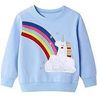 Little Hand Toddler Girls Sweatshirts Dinosaur Unicorn Cotton Hoodies Long Sleeve Kids Pullover Tops