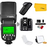 Godox TT685C TTL Canon Camera Flash Speedlite 2.4G HSS 1/8000s GN60 + Godox X1T-C TTL 2.4G Wireless Flash Trigger Transmitter for Canon EOS Cameras