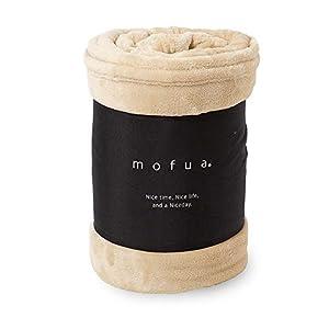 mofua(モフア) 毛布 セミダブル ふんわりあったか 静電気防止加工 マイクロファイバー 1年間品質保証 洗える 160×200cm ベージュ 50000205