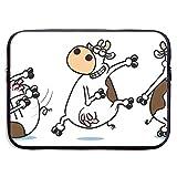GoodPlus 男女兼用 PC収納カバン 衝撃吸収 保護用スリーブカバー ブレイクダンス牛 PC用キャリングバッグ おしゃれ インナーケース 実用型 撥水加工 13インチ 15インチ 対応