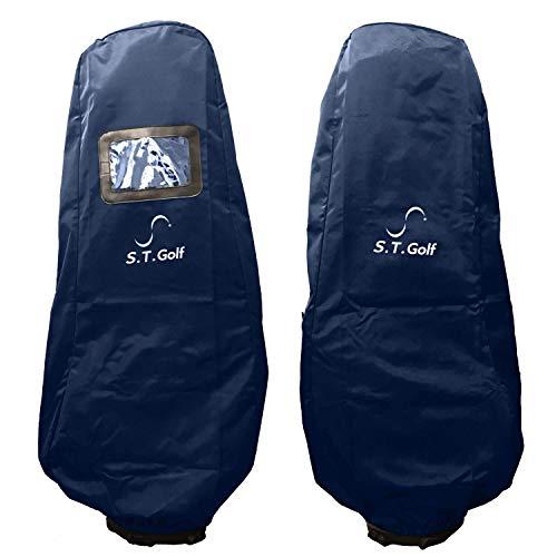 トラベルカバー S.T.Golf キャディバッグ ゴルフバッグ 頑丈 保護 宅配 カバー 撥水加工 9.5型 48インチ 対応 保管 輸送用 収納袋 付属 ネイビー