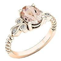 10K ローズゴールド 8X6 mm オーバル&ラウンドホワイトダイヤモンド レディース ユニークヴィンテージ婚約指輪