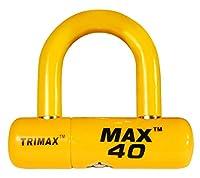 Trimax オートバイディスクU型ロック MAX40YL イエローとイエロー PVCシャックル