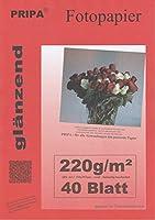 Pripa Photo Paper 40枚のシートにA4 A4 / 220g / sqm/光沢のある光沢がある用紙はすぐに乾きます。非常に高い耐光性 - インクジェットプリンタ用。