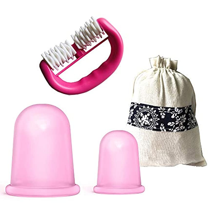 後方にラフト評議会セルライトカッピングセラピーセットシリコンカッピングマッサージカップモイスチャーガシャ+ローラーマッサージャー付きギフトバッグ,Pink