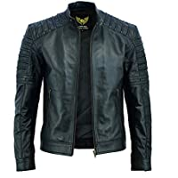 Leatherick Mens Leather Jacket Real Sheepskin Black