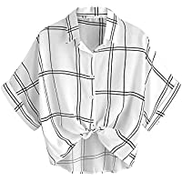 MakeMeChic Women's Collar Button Down Shirt Summer Knot Front Blouse