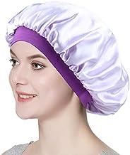 Women Silky Double-Layered Satin Sleep Cap with Premium Elastic Band