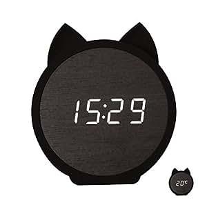 SUNOKY 目覚まし時計 木製 ねこ デジタル 置き時計LED アラーム 多機能 温度計 省エネ 音声感知 USB給電 メモリー機能 入園 入学祝い