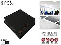 5ピースブラック熱吸音防湿ガラス繊維音響中断ドロップ天井タイル600×600×15 mm 1174