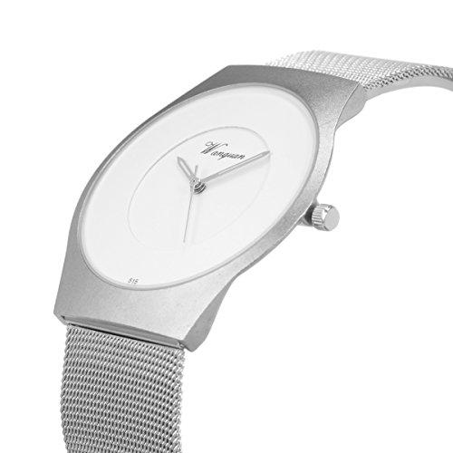 SIBOSUN 腕時計 メンズ 超薄型 日本クォーツ メッシュ ステンレス 鋼 バンド 防水 ミニマリスト シルバー