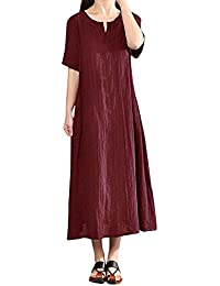 c112ca58b2933 レディース ワンピース Hosam 半袖 綿麻 マキシ丈 ドレス 型オーバー スカート ...