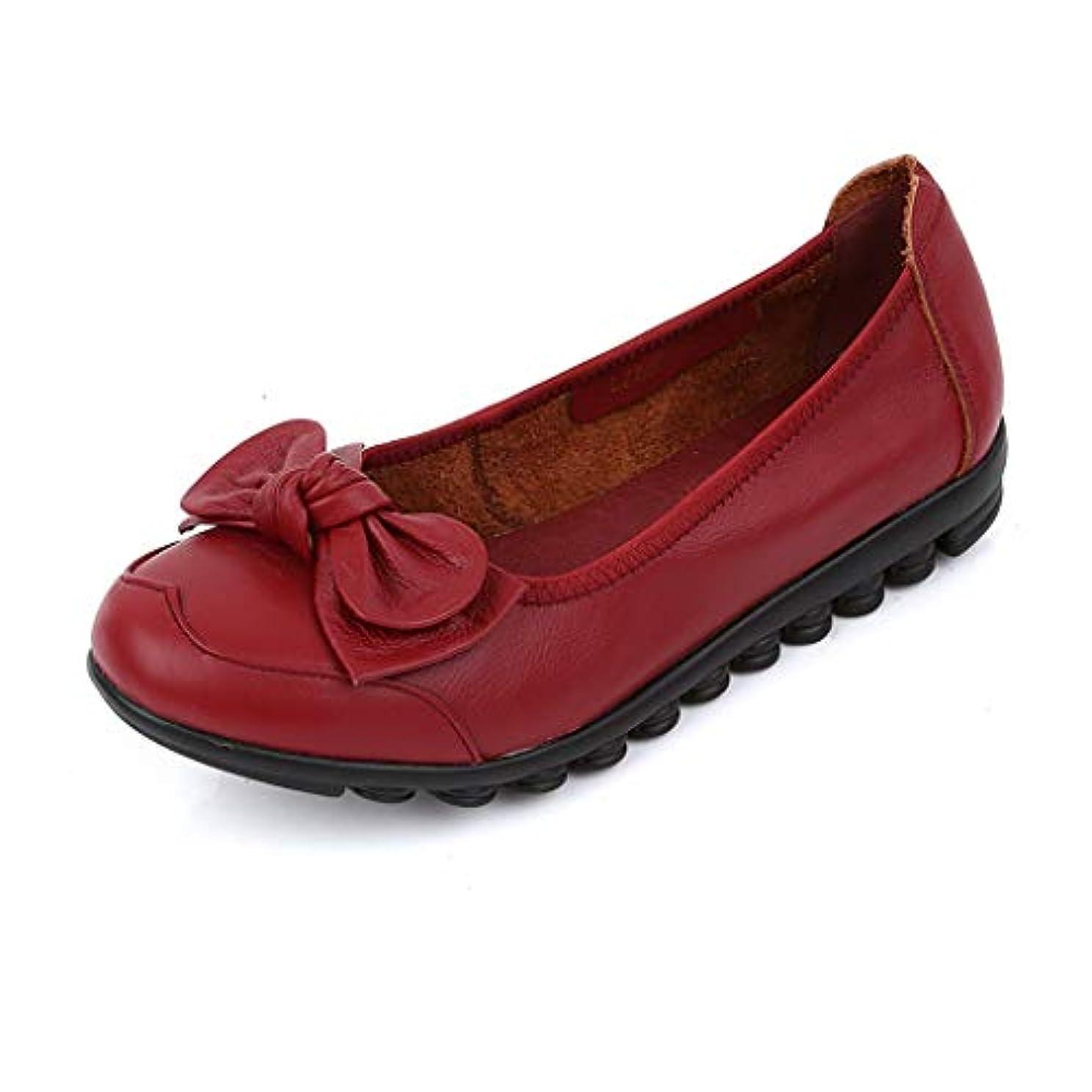 ファブリックお母さん害[実りの秋] シニアシューズ レディース 26.5CMまで お年寄りシューズ リボン 疲れにくい 滑り止め 婦人靴 モカシン 介護用 軽量 安定感 通気性 高齢者 母の日 敬老の日 通年