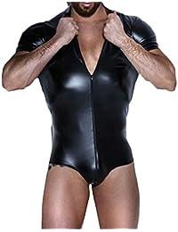 Keaac メンズフォークスレザーショートスリーブボディスーツウェットルックフロントジッパージャンプスーツ