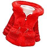 Milkiwai ベビー服 防寒ジャケット フード付き 女の子 コート 起毛 size 110 (レッド)