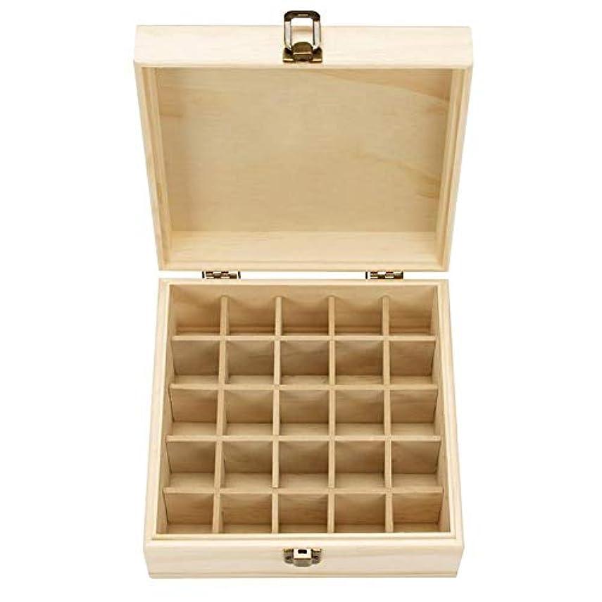 困惑ぶら下がるショッピングセンターエッセンシャルオイル収納ボックス 耐久性 自然木製 収納 ボックス 香水収納ケース 25本用 18.3x18.3x8.3cm