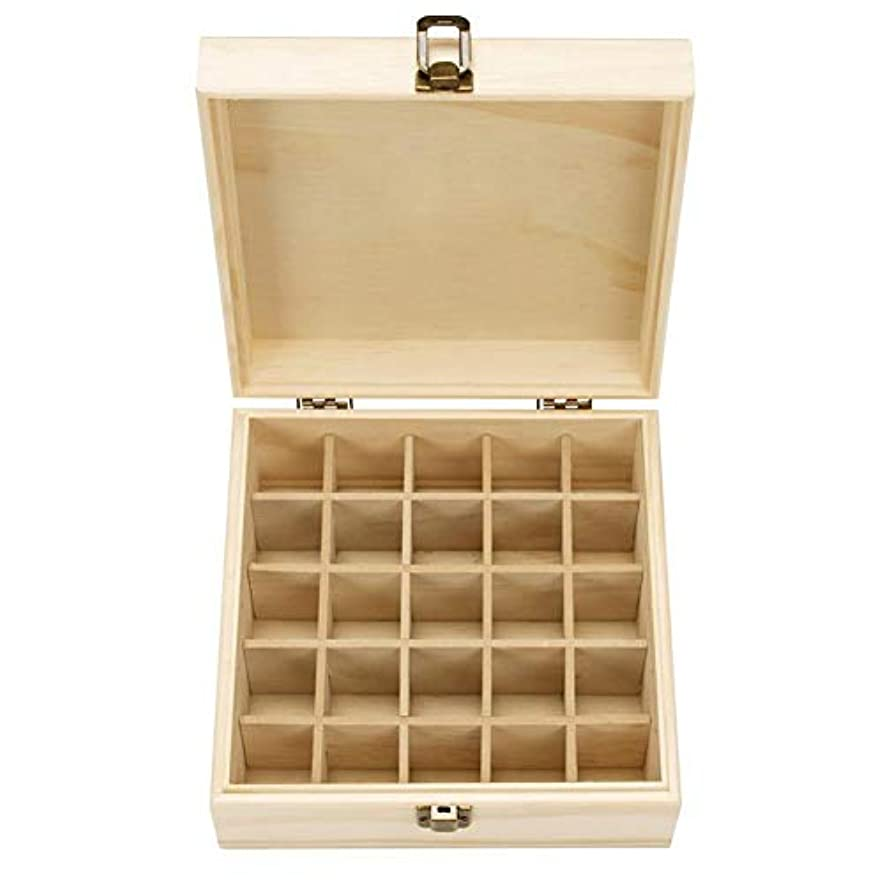 確立バンク尽きるエッセンシャルオイル収納ボックス 耐久性 自然木製 収納 ボックス 香水収納ケース 25本用 18.3x18.3x8.3cm