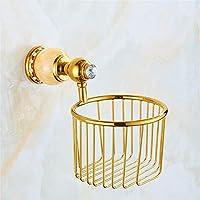 浴室ペーパータオルホルダー ユーロ銅バスラック翡翠金タオルラックタオルラックマウントキットバスルーム、トイレットペーパー1 Zicuee (色 : Paper Basket)