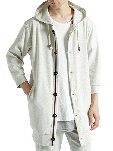 (モノマート) MONO-MART 七分袖 パラシュート釦 パーカー ゆる 7分袖 MODE サマー メンズ ロング丈 オートミール Mサイズ