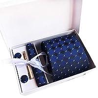 Xiang Ru ネクタイ チェック ビジネス フォーマル カジュアル オシャレ 父の日 プレゼント ギフト 結婚式 就活 誕生日 ストライプ ポケットチーフ タイピン カフスボタン 4点セット 全18種類 タイプL