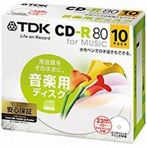 TDK CD-RM80PWX10B-BC | CD-R 80分 10枚 ワイド プリンタブル 音楽用 ホワイト レーベル