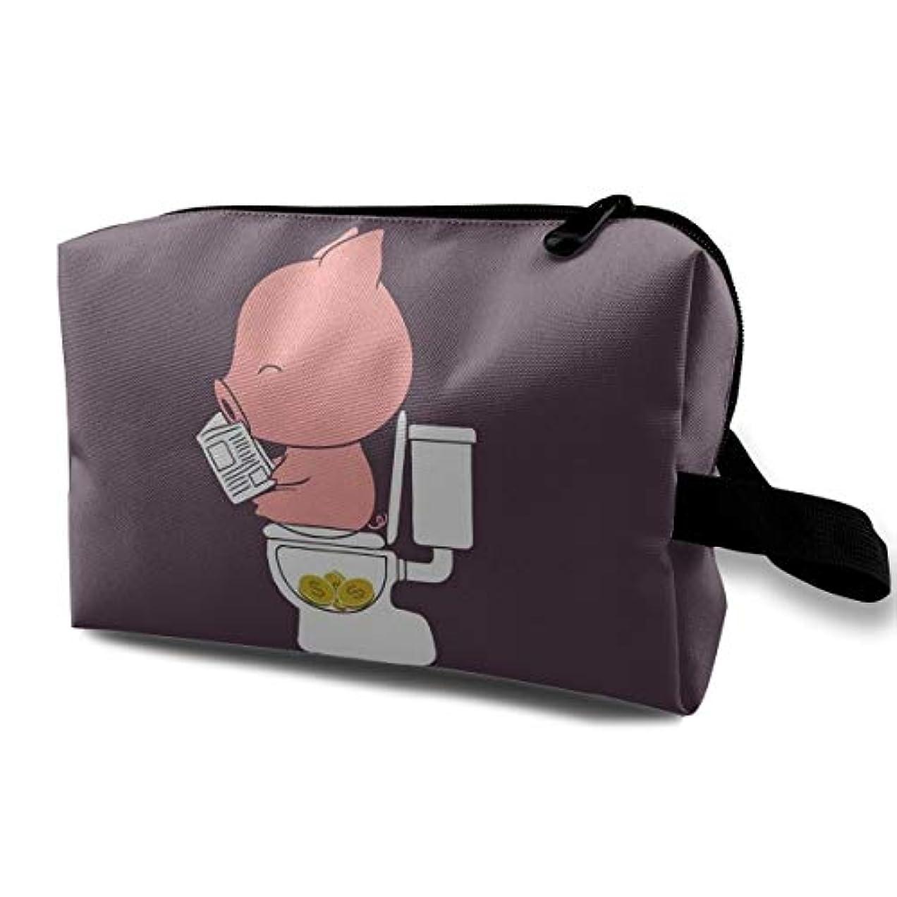 単語ブリード肉おもしろ豚 化粧ポーチ、大容量 コスメポーチ メイクポーチ、高品質 防水 メイクケース 旅行 機能的 小物入れ 化粧道具 メイクボックス
