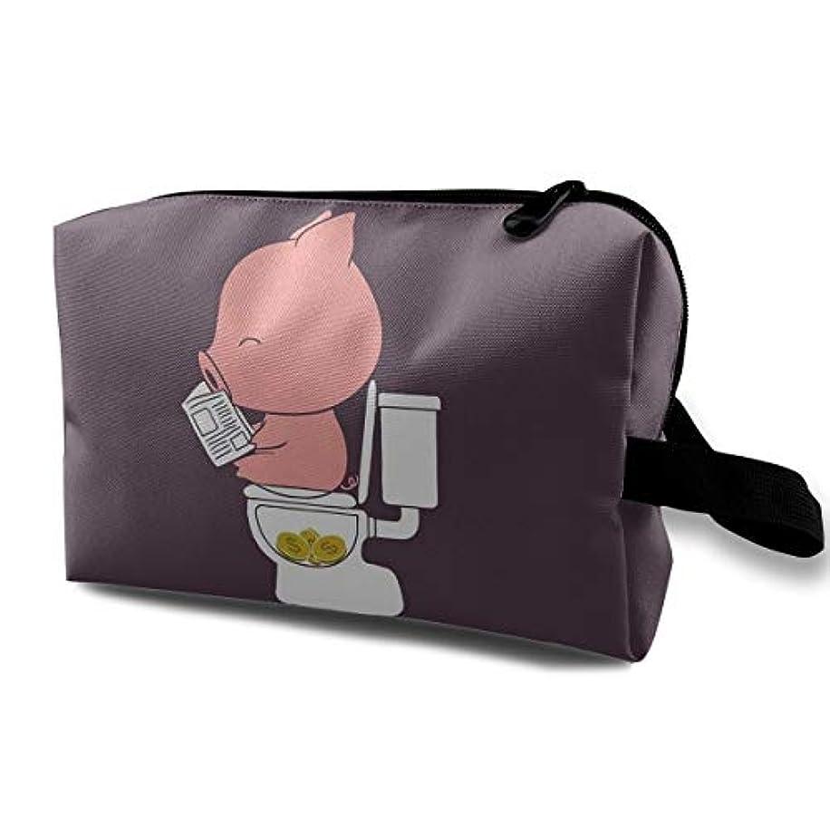 ファックス内なるガードおもしろ豚 化粧ポーチ、大容量 コスメポーチ メイクポーチ、高品質 防水 メイクケース 旅行 機能的 小物入れ 化粧道具 メイクボックス