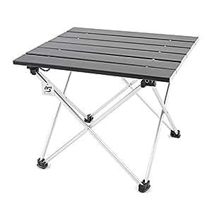 【オーエルジー】 アウトドア テーブル 折りたたみ コンパクト アルミ ロール ブラック 机 天板の高さがちょうどいい バーベキュー ソロキャンプに 専用収納袋付