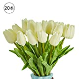 造花 枯れない花 チューリップ 造花 インテリア ギフト 大切な人へ感謝の気持ちを伝える 花束 インテリア造花アートフラワー シルク製造花 20本 ホワイト 家、事務所、店、喫茶店、結婚式、パーティーなど様々の応用場所