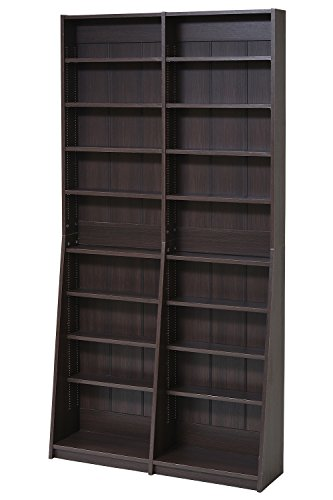 JKプラン 1cmピッチ 文庫本収納ラック 幅90 省スペース スリム 本棚 高さ 180 cm 木製 リビングシェルフ 棚板 かんたん調節 メモリ付き FRM-0009-DB