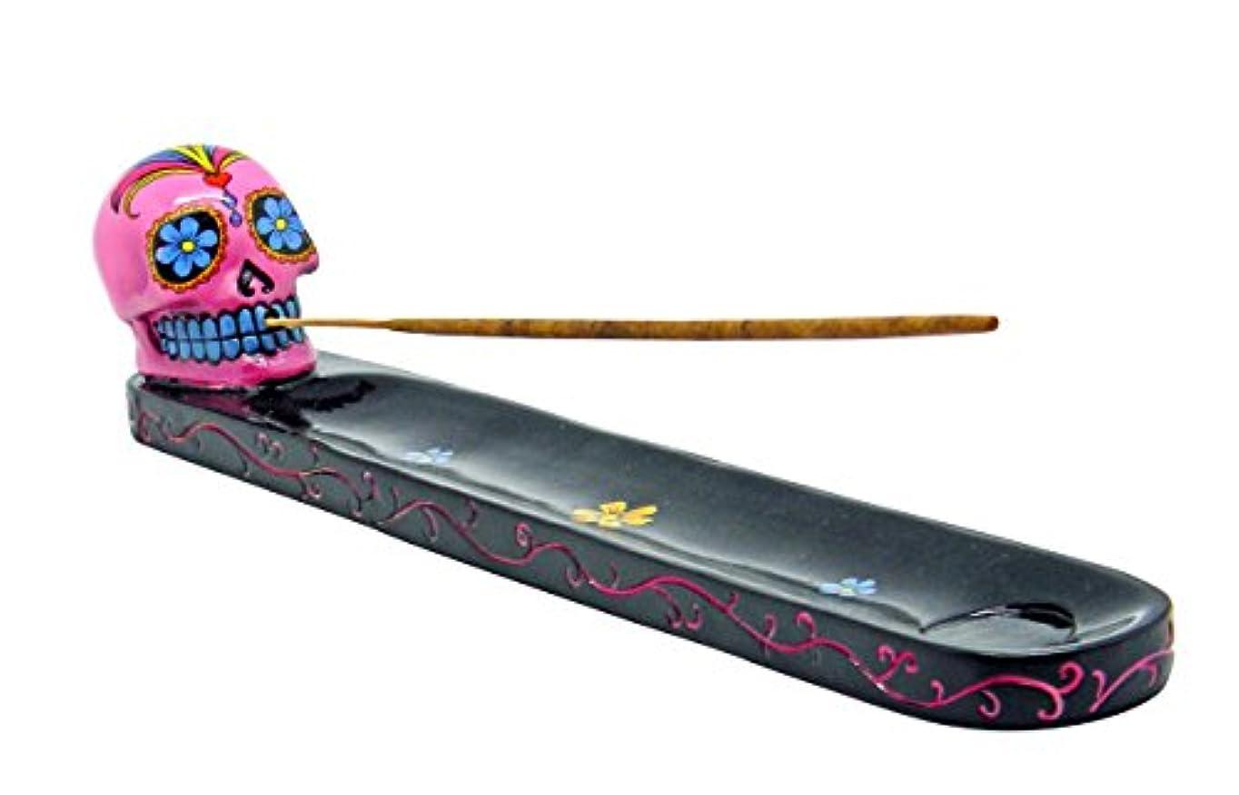 コットン軽聖書1 X Day of the Dead Black Incense Burner Pink Sugar Skull by Fantasy