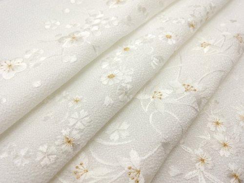 ちりめん洗える刺繍半襟/白地/白刺繍金糸入り