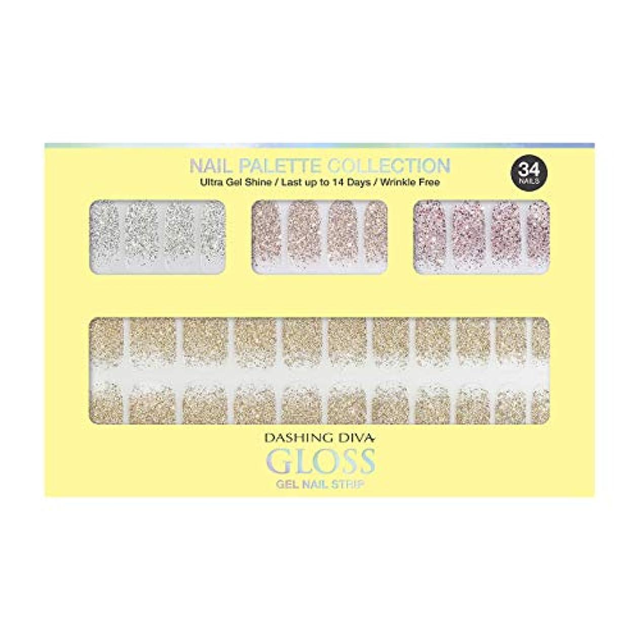 バッフル持続的サイレンダッシングディバ グロスジェル ネイルストリップ DASHING DIVA Gloss Gel Nail Strip DGNP07-DURY+ オリジナルジェル ネイルシール Lemon #07 Sparkling Powder