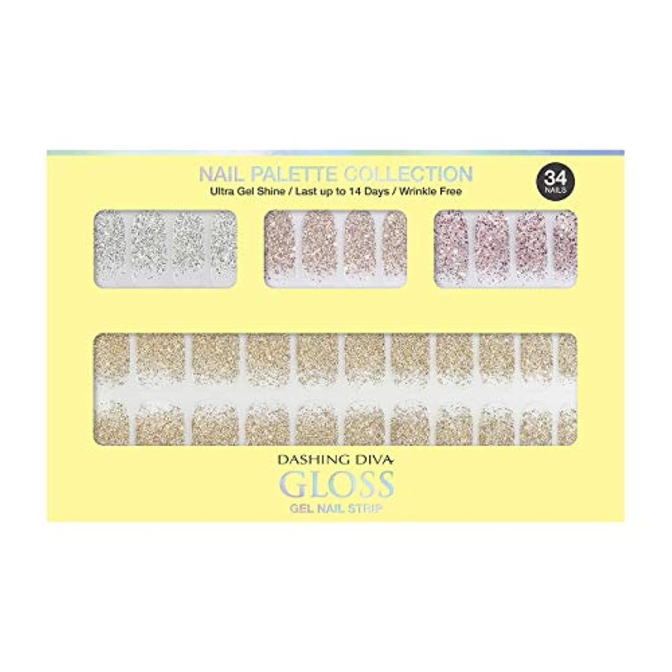 豪華な大使館ブートダッシングディバ グロスジェル ネイルストリップ DASHING DIVA Gloss Gel Nail Strip DGNP07-DURY+ オリジナルジェル ネイルシール Lemon #07 Sparkling Powder