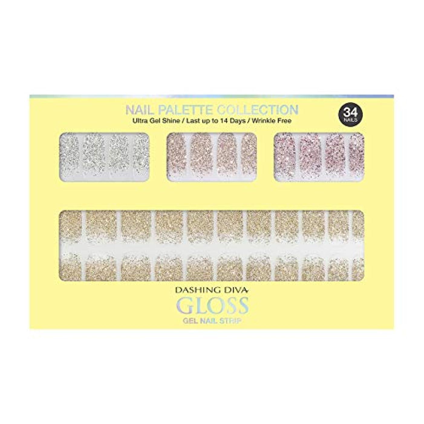 漁師画像台風ダッシングディバ グロスジェル ネイルストリップ DASHING DIVA Gloss Gel Nail Strip DGNP07-DURY+ オリジナルジェル ネイルシール Lemon #07 Sparkling Powder
