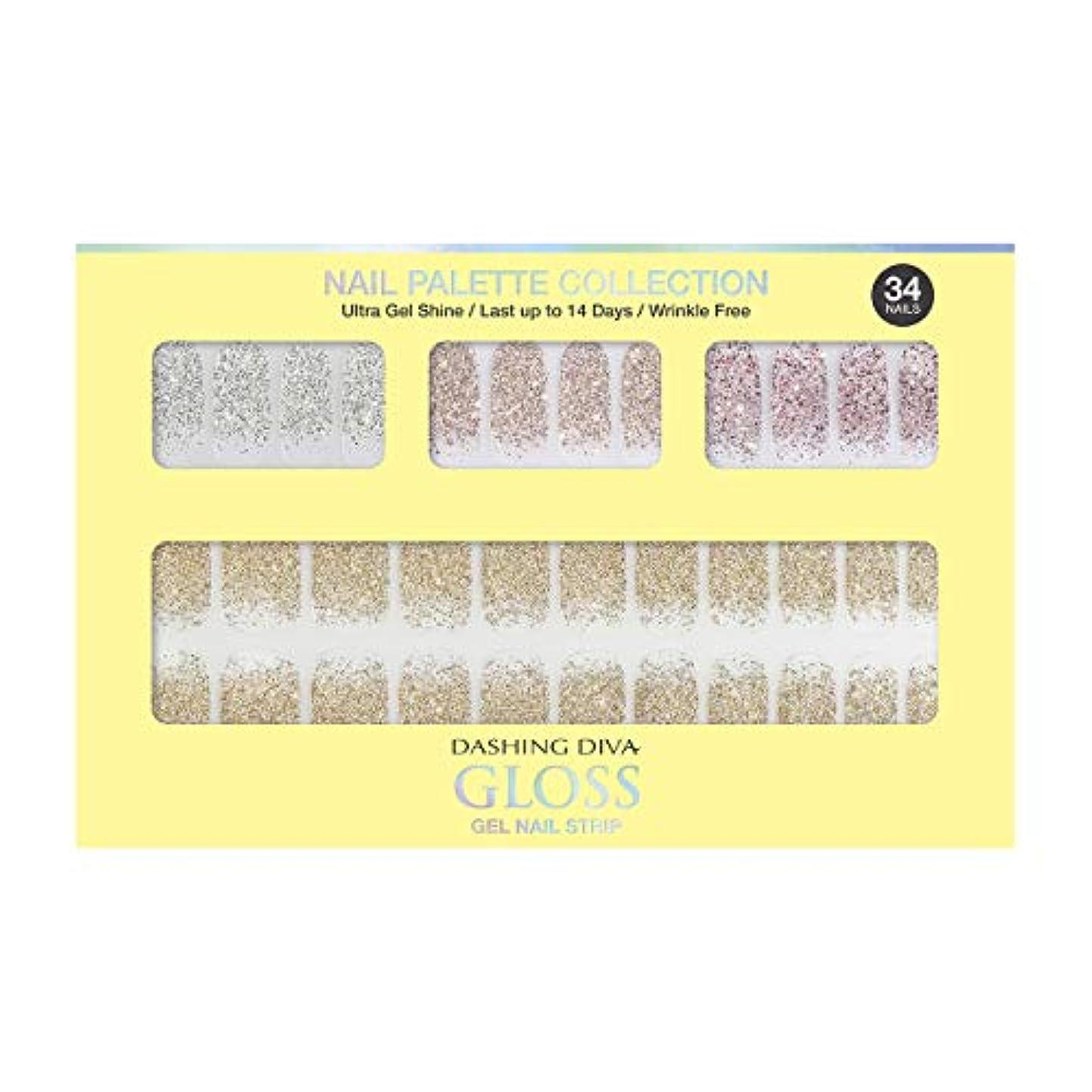 第二にカメボクシングダッシングディバ グロスジェル ネイルストリップ DASHING DIVA Gloss Gel Nail Strip DGNP07-DURY+ オリジナルジェル ネイルシール Lemon #07 Sparkling Powder