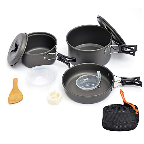 Bebiwa キャンプクッカー クッカーセット アルミクッカー アウトドア調理器具セット 登山用鍋 2-3人に適応 BBQ食器 ポータブル キャンピング鍋 収納袋付き