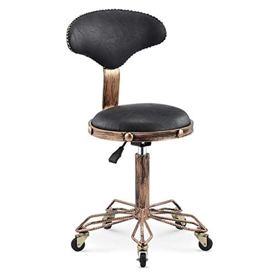 回転椅子-美容スツール理髪店の椅子ヘアサロンロータリーリフトスツールメイクヘアサロンプーリーチェア散髪 (Color : Black)