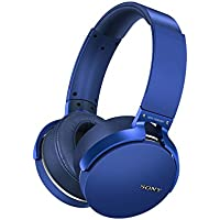 SonyプレミアムBluetoothワイヤレス軽量splash-proofノイズ分離ステレオヘッドフォン(ブルー)