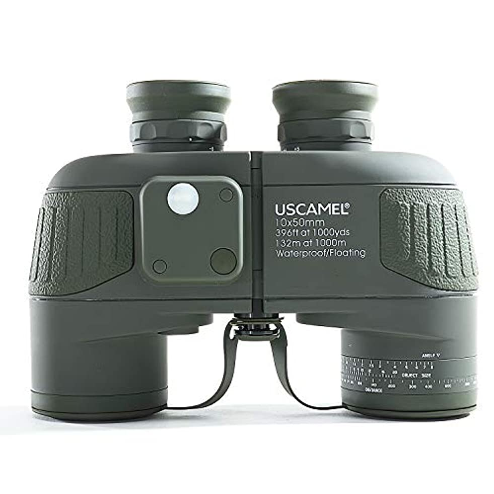 砲兵令状慎重USCAMEL® レンジファインダーコンパス付き10x50ミリタリー防水HD双眼鏡 - アーミーグリーン