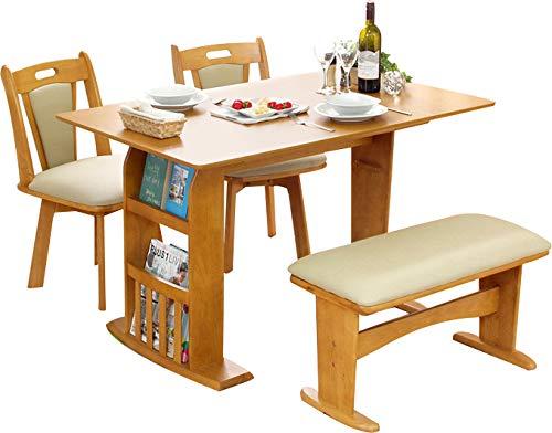 木製 伸長式ダイニングテーブルセット 木製テーブル 回転チェ...