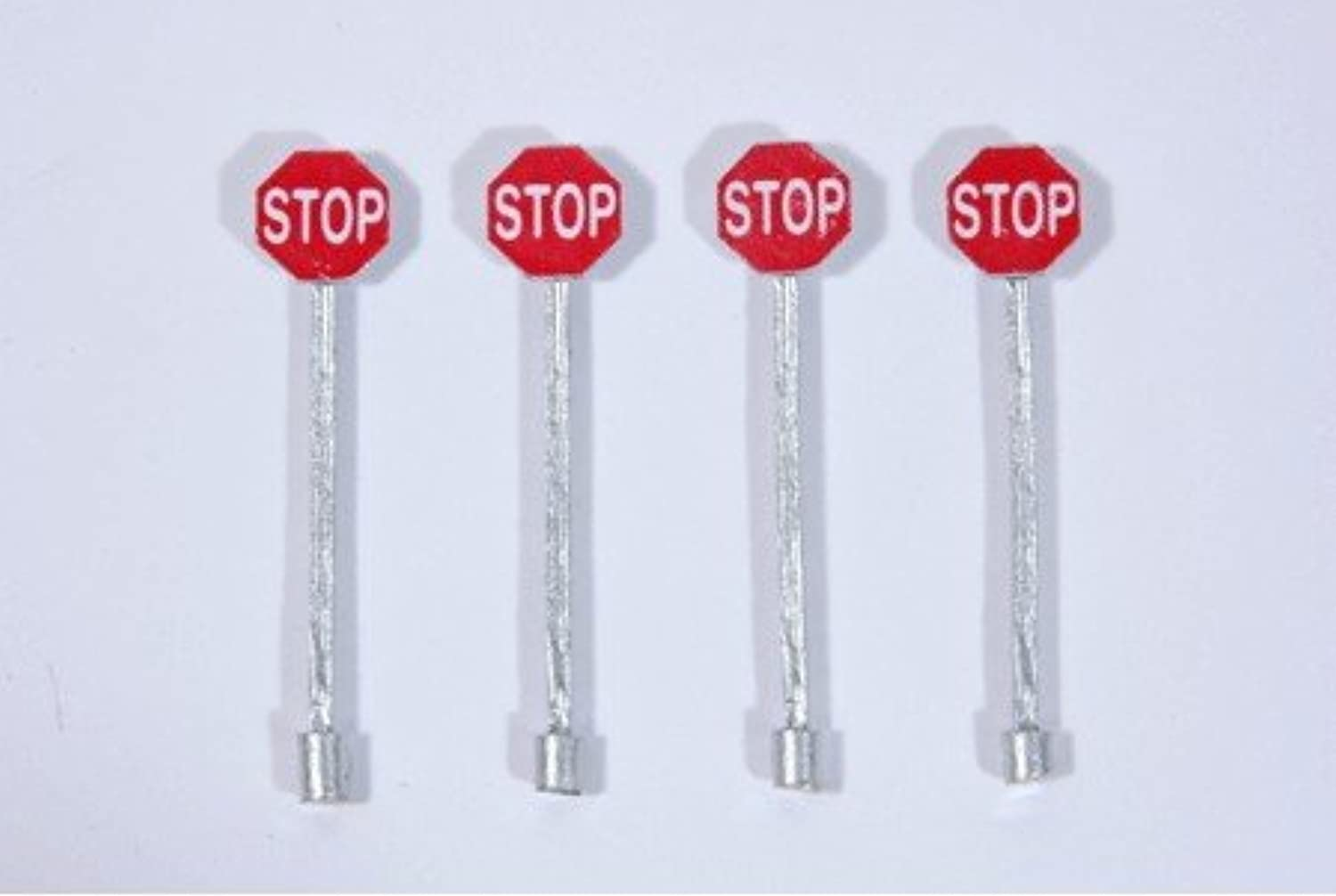 HO Scale Custom Railroad Right-of-Way Signs -- Stop Sign - Red pkg(4) by JL Innovative Design