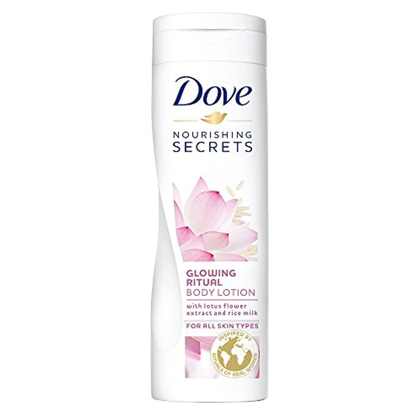 局一掃する群がるDove Glowing Ritual Body Lotion, 250ml (Lotus flower and rice milk)