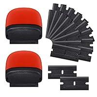 FOSHIO 2個多目的ミニプラスチック替刃式スクレーパーヘラ、20枚1.5インチダブルエッジプラスチックカミソリブレード、塗料と車のビニールラップ、デカールステッカー、窓ガラスの掃除