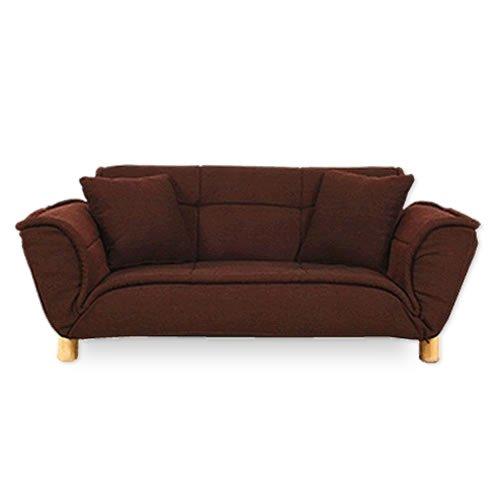 2人掛け ソファー 「リズム」【ダークチョコ(赤茶色)】 14段階リクライニング 二人掛け 上質の質感 北欧 座椅子 フロアチェア