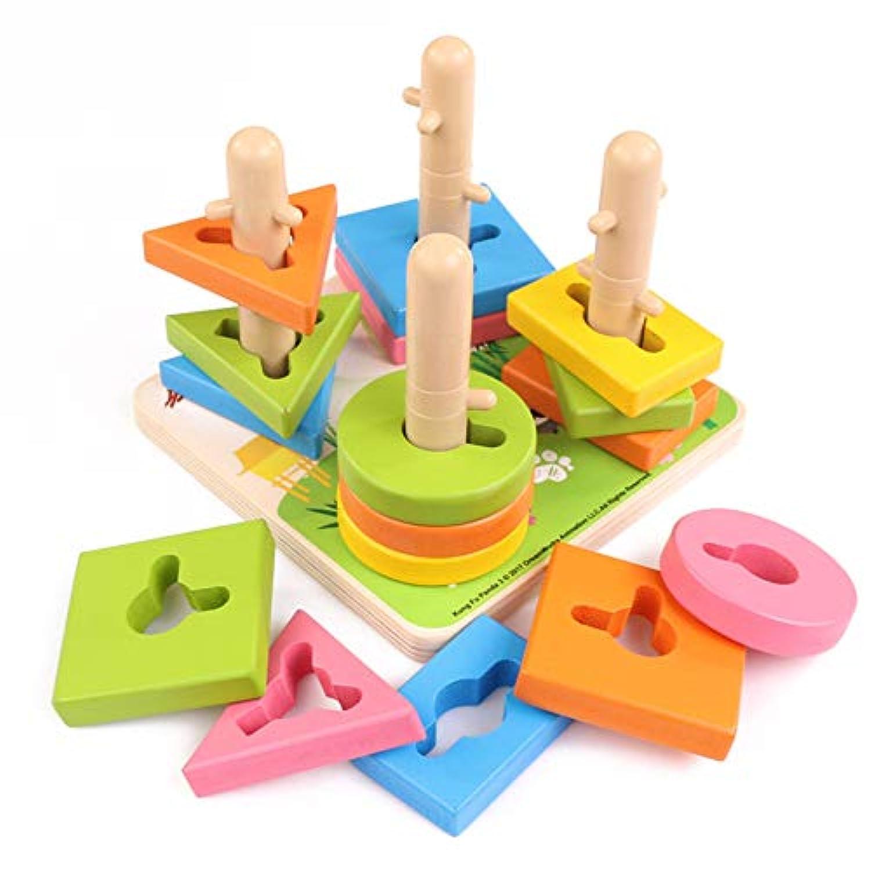 Aweekly 木製 教育 就学前のおもちゃ 木製形状 色分けパズル 幾何学ボードブロック 積み重ね 分厚いパズル 1~5歳 男の子 女の子 子供 赤ちゃん 幼児 子供