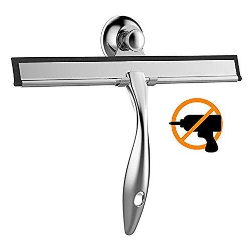 Merisny ガラススクイジー 水切りワイパー T字型スキージース テンレス製 掃除 車用 ガラス 窓 浴室 吸盤フック付き