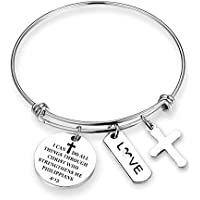 ZNTINA Christian Bracelet I Can Do All Things Through Christ Who Strengthens Me Inspirational Religious Jewelry Christian Gifts