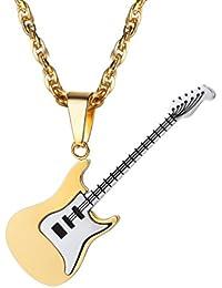 PROSTEEL エレキギター ネックレス ペンダント ステンレス製 メンズ アクセサリー かっこいい アレルギー対応(ゴールド)