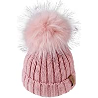 FURTALK Kids Winter Knitted Faux Fur Pom Pom Cap Toddler Boys Girls Kids Beanie Hat (Ages 2-8)